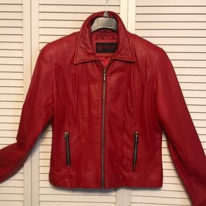 Guess Red Leather Short Jacket Size L